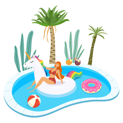 Summer illustration of girl in swimsuit with inflatable pool floats relaxing in the pool. Vector template.