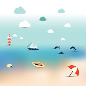 Summer illustration of sun beach. Turquoise see, ship, dolphins and infinite ocean. Blur background.