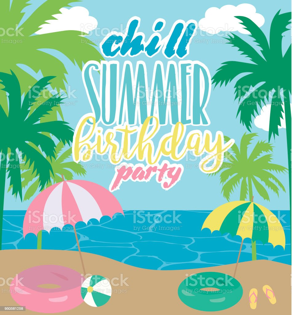 summer illustration poster for pool party or beach party invitation