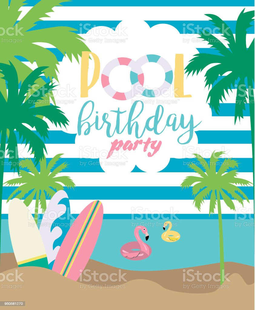Summer illustration poster for pool party or beach party invitation summer illustration poster for pool party or beach party invitation for birthday party royalty filmwisefo