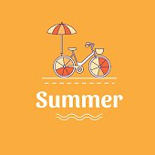 Summer illustration with a bicycle.