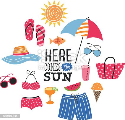 istock Summer Illustration with Icons 485980681