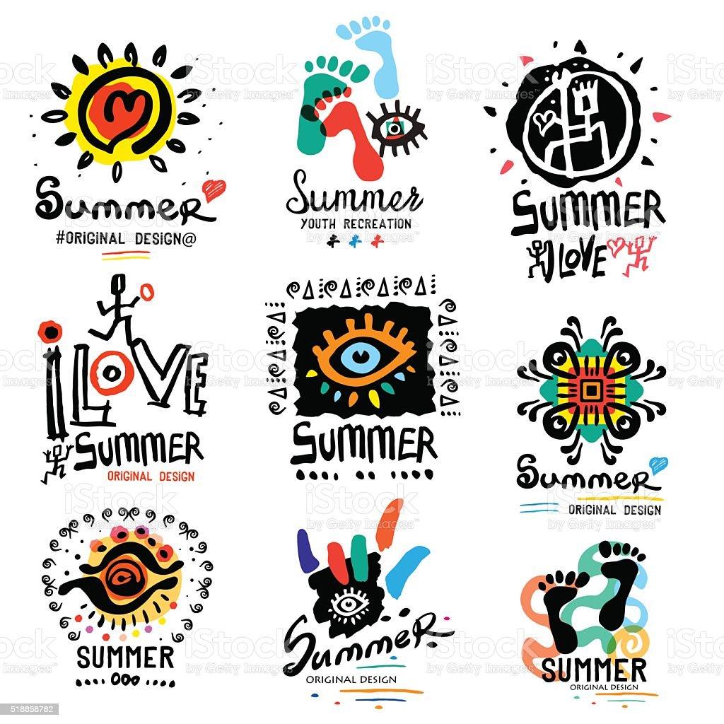 Summer illustrations and symbols vector art illustration