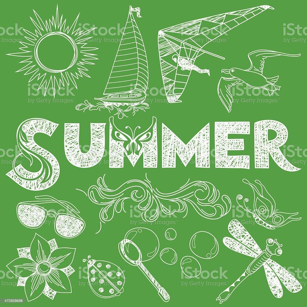 Summer in Handmade Style vector art illustration