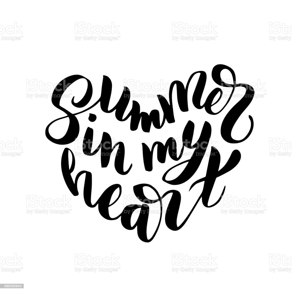 Summer in my heart - hand drawn brush lettering royaltyfri summer in my heart hand drawn brush lettering-vektorgrafik och fler bilder på affisch