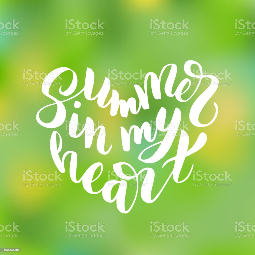 Summer in my heart - hand drawn brush lettering royaltyfri summer in my heart hand drawn brush lettering-vektorgrafik och fler bilder på affisch
