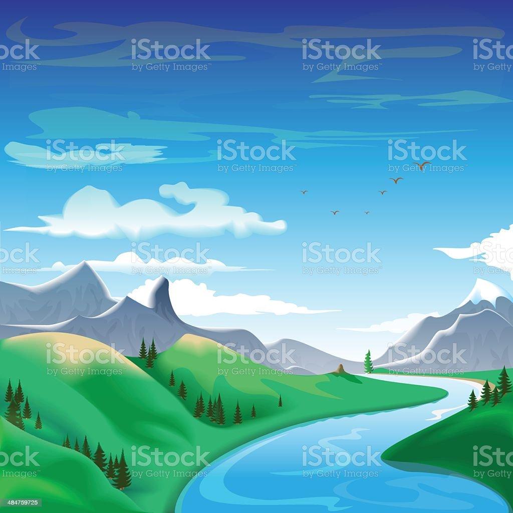 Summer in the mountains vector art illustration