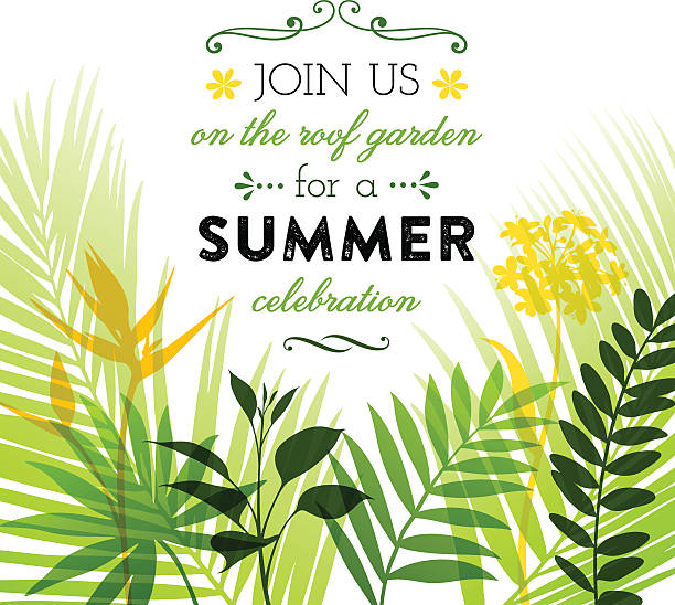 Summer Invitation Design Summer design with flowers, leaves and copyspace.  EPS10 file contains transparencies.  Hi res jpeg and AI10 file included, global colors used. Scroll down to see more of my illustrations. bird of paradise plant stock illustrations