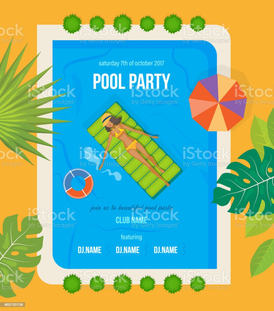 summer invitation to event poster flyer on party near pool stock
