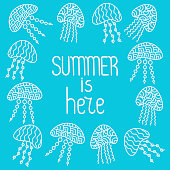 Summer is here. Frame with Jellyfish drawn in line art style. Vector
