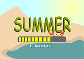 Summer is loading beach background.