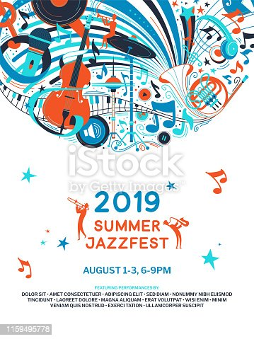 istock Summer jazz festival announcement poster flat template 1159495778