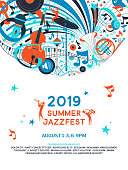 Summer jazz festival announcement poster flat template. Retro music fest web banner with text space. Microphone, cello, french horn musical instruments doodle drawing. Blues concert flyer