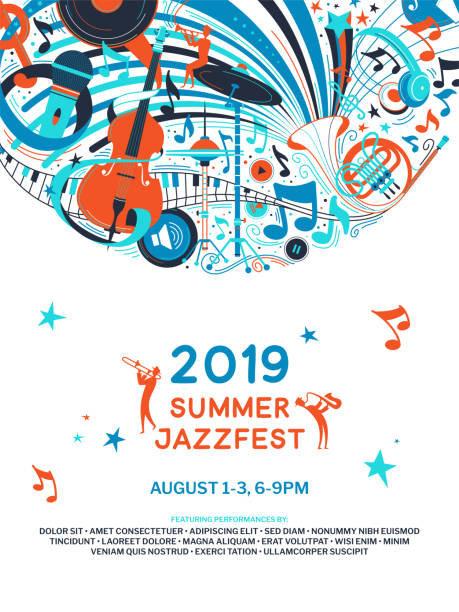 summer jazz festival announcement poster flat template - muzyk stock illustrations