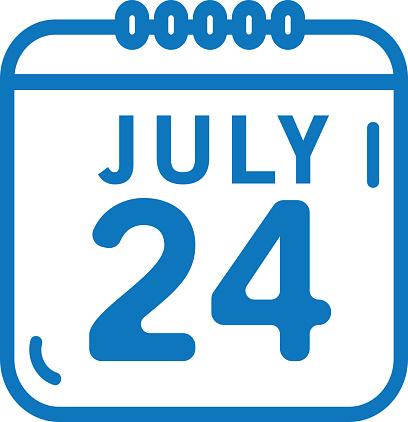 Summer July 24 calendar date outline line art flat icons