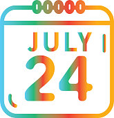 Summer July 24th calendar date party Flat Simple outline Design Icon