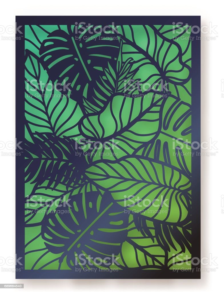 Summer jungle foliage greeting card. vector art illustration