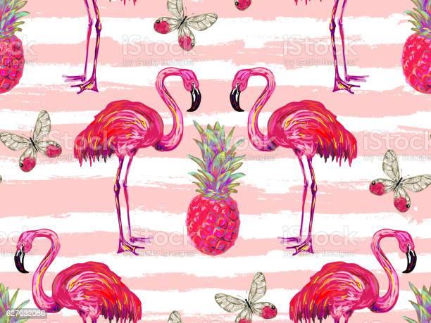Summer jungle pattern with tropical butterflies flamingo and vector id627032086?b=1&k=6&m=627032086&s=612x612&h=x1pkvhowquhlmy6he9umqhr8rh7e1pxjmrq9nkl41io=