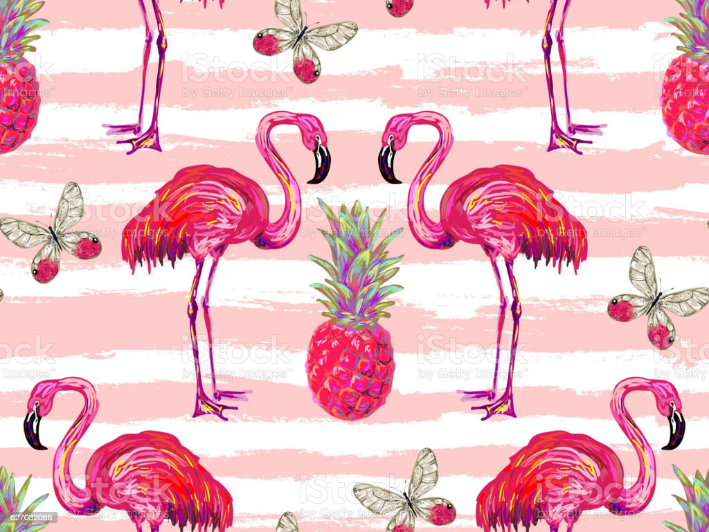 Summer jungle pattern with tropical butterflies, flamingo and pineapple vector art illustration