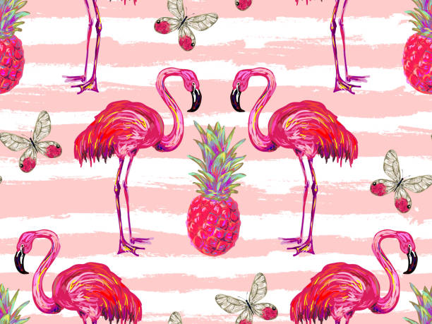 Summer jungle pattern with tropical butterflies, flamingo and pineapple - Illustration vectorielle