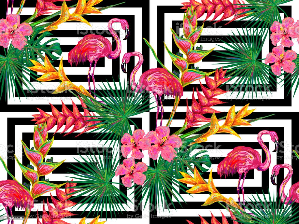 Summer jungle pattern with with flamingo, palm leaves and flowers ベクターアートイラスト