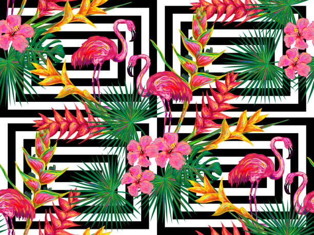 ilustraciones, imágenes clip art, dibujos animados e iconos de stock de summer jungle pattern with with flamingo, palm leaves and flowers - fondos de animales