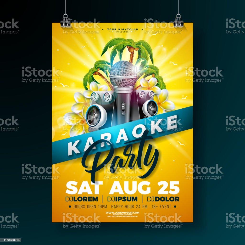 Ilustración De Verano Karaoke Party Flyer Diseño Con Flor