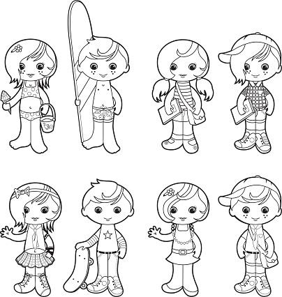 Summer kids coloring set
