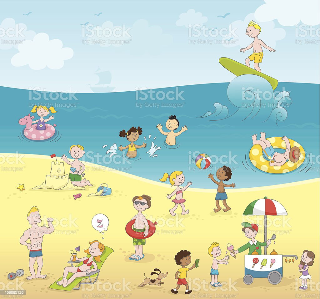 Summer kids playing beach [5 Millionth approved iStock file] vector art illustration
