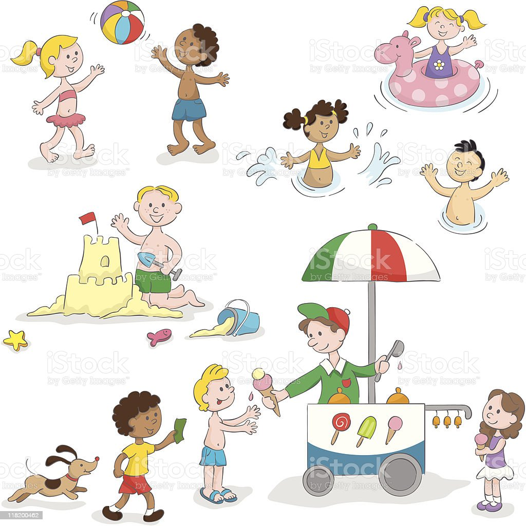 Summer kids playing fun beach set vector art illustration