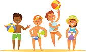 Set summer kids with the ball in their hands stand various poses. Vector illustration in cartoon style childs beach suit clothes isolated