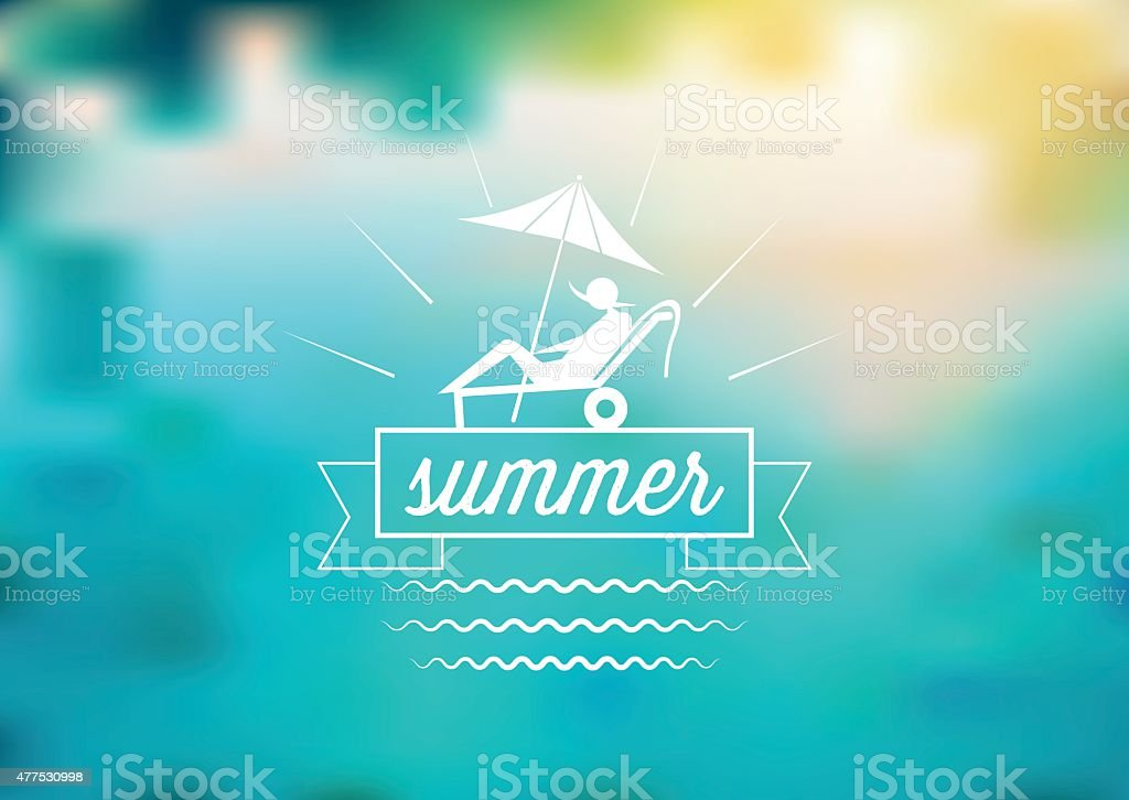 summer label on blurred blue background vector art illustration