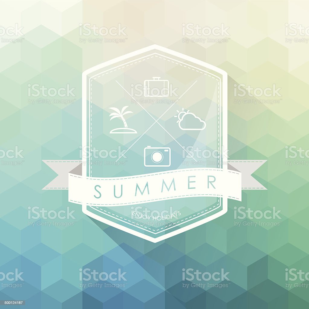 summer label on polygon abstract background royalty-free stock vector art