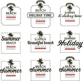 drawing of vector summer holiday labels. Created by illustrator cs6. This file of transparent.
