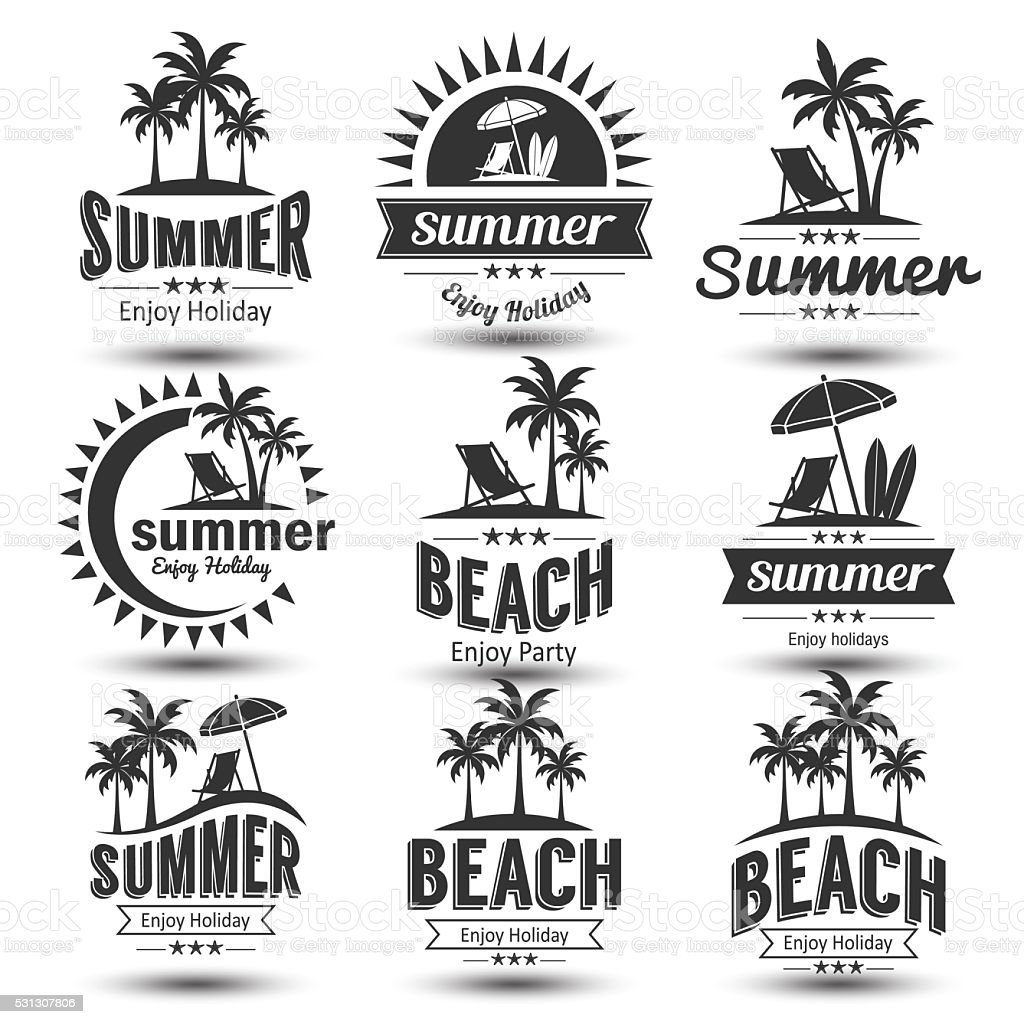 Beautiful Vintage Summer Seaside Illustration Royalty Free: Summer Label Stock Vector Art & More Images Of Beach