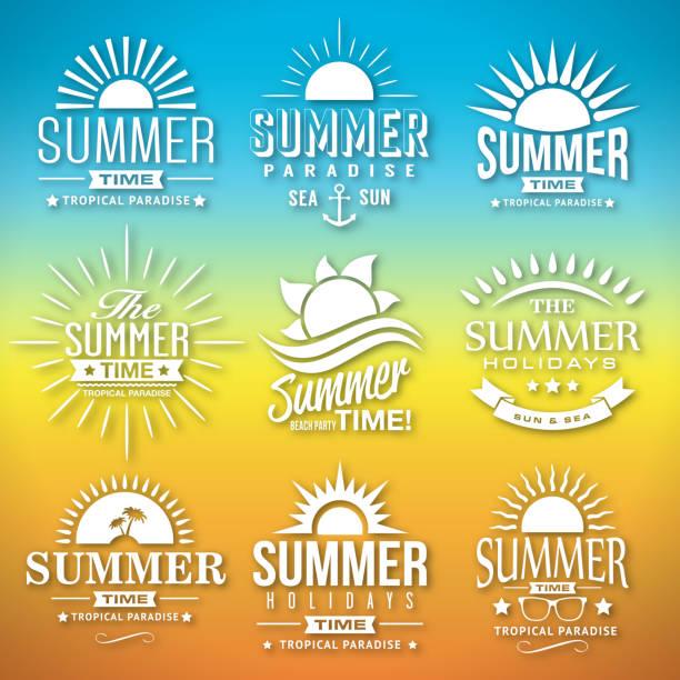 Summer Label Vector Set of Summer Label Calligraphic Designs in Vector Format beach borders stock illustrations