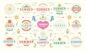 Summer labels and badges design set retro typography for posters, greeting cards and banners. Summer holidays icons and design elements collection.