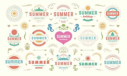 Summer labels and badges design set retro typography for posters, greeting cards and banners