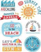 Set of summer themed badges and design elements.   AI10 file and hi res jpeg included, global colors used. Scroll down to see more of my illustrations linked below.