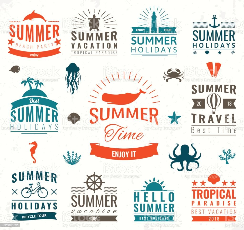 Summer Labels Symbols Tags And Elements Set For Summer Holiday