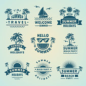 Summer labels. Vector illustrations of tropical logos and badges. Beach party sea, vacation and holiday