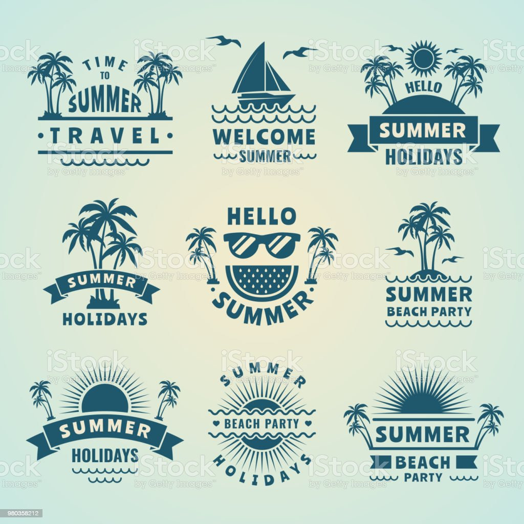 Summer labels. Vector illustrations of tropical logos and badges vector art illustration