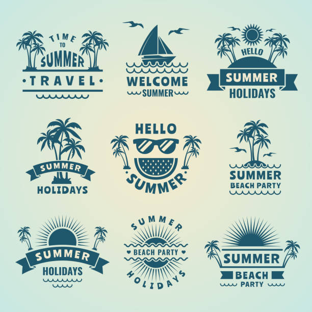 summer labels. vector illustrations of tropical logos and badges - beach fashion stock illustrations, clip art, cartoons, & icons