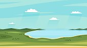Summer lake landscapes. Horizontal wild sideview landscape