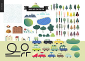 Summer landcape constructor set - kit of city and park landscape elements - houses, trees, cars, roads. Travel to tourist camp.
