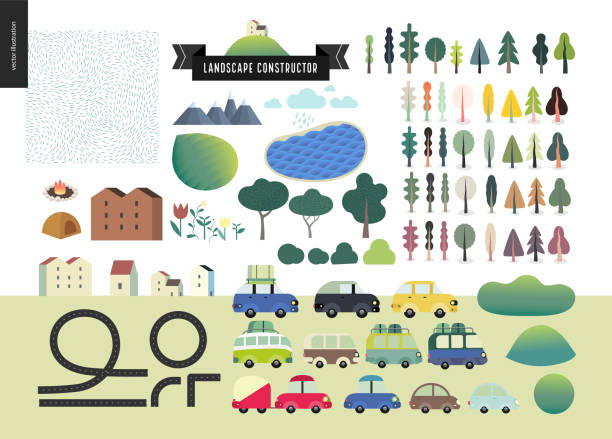 sommer-landschaft-konstruktor - städtische mode stock-grafiken, -clipart, -cartoons und -symbole