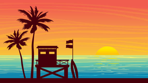 summer landsape - lifeguard station, sea, palm and sunset. - zachód słońca stock illustrations
