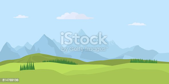 Summer landscape background with green valley, pine forest woods and mountains. Traveling, Extreme Sports, Vacation and Outdoor Recreation Concept, Flat design. Vector