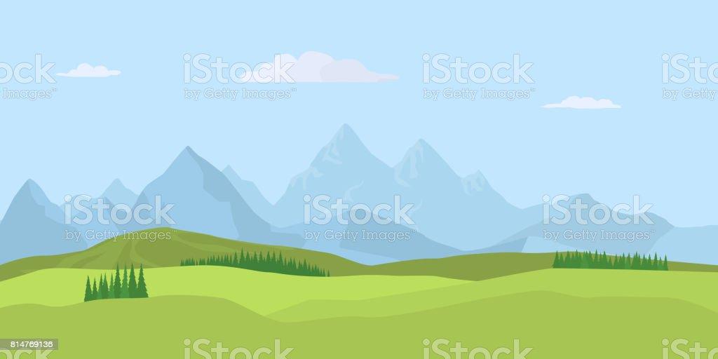 Summer landscape background. Vector vector art illustration