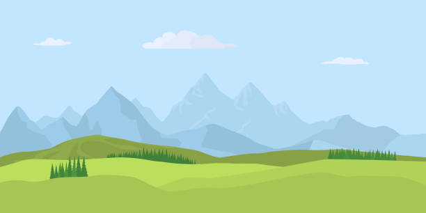 Summer landscape background. Vector Summer landscape background with green valley, pine forest woods and mountains. Traveling, Extreme Sports, Vacation and Outdoor Recreation Concept, Flat design. Vector adventure backgrounds stock illustrations